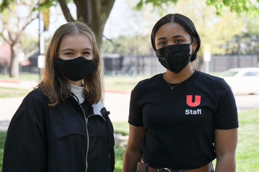 Wichita State Students sophmore Maddie Meadows majoring in graphic design and senior Journi Brown majoring in anthropology at Family Fun Day at the Ulrich Museum on April 24, 2021