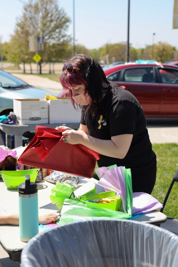Wichita State student and President of Shift Space Gallery Lydia Humphreys majoring in painting at Family Fun Day at the Ulrich Museum on April 24, 2021