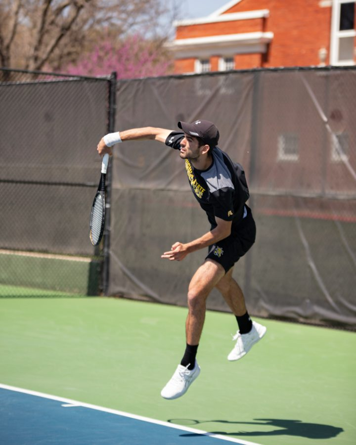 Wichita State Redshirt Sophomore Stefan Latinovic returns the ball during the game against the SMU Mustangs at the Coleman Tennis Complex on April 2, 2021.