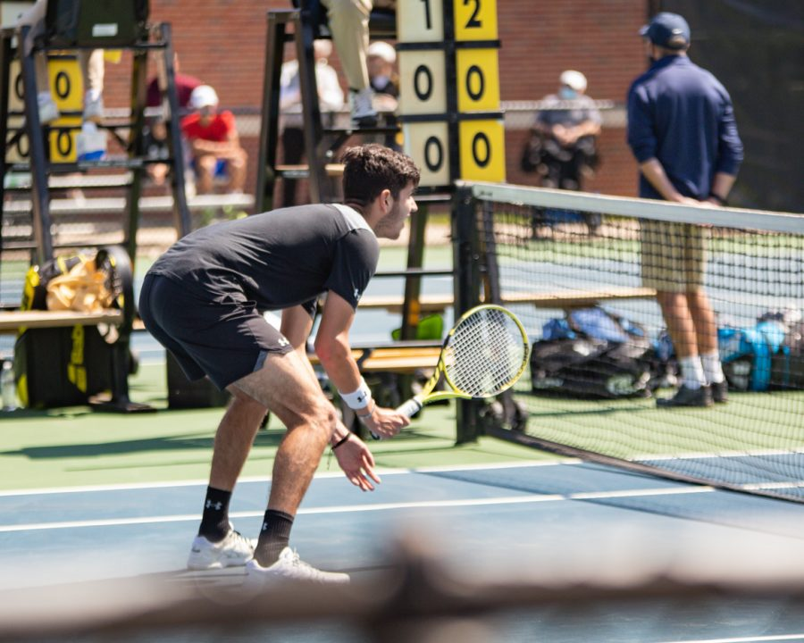 Wichita State Freshman Luka Mrsic gets ready to retrun the ball during the game against the SMU Mustangs at the Coleman Tennis Complex on April 2, 2021.