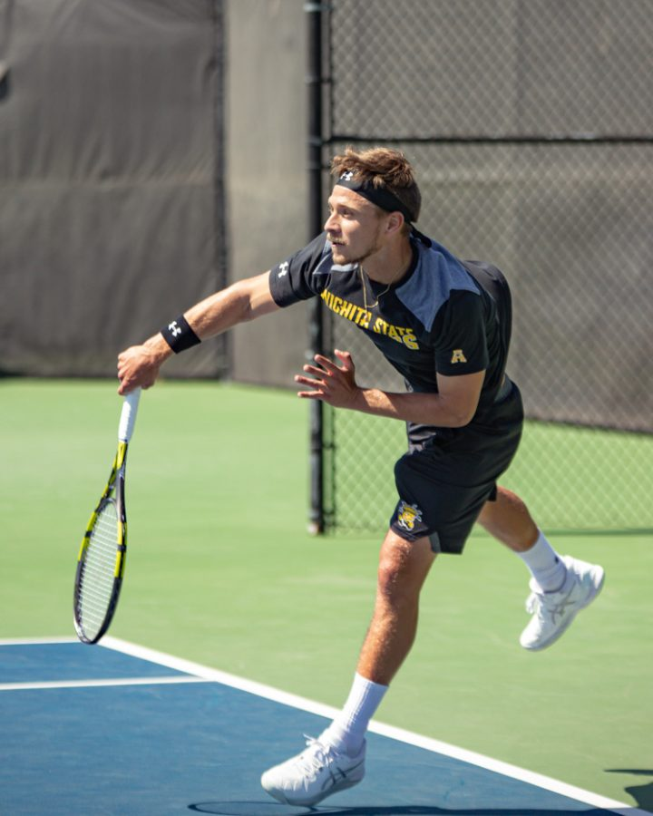 Wichita State Redshirt Sophomore Orel Ovil returns the ball during the game against the SMU Mustangs at the Coleman Tennis Complex on April 2, 2021.