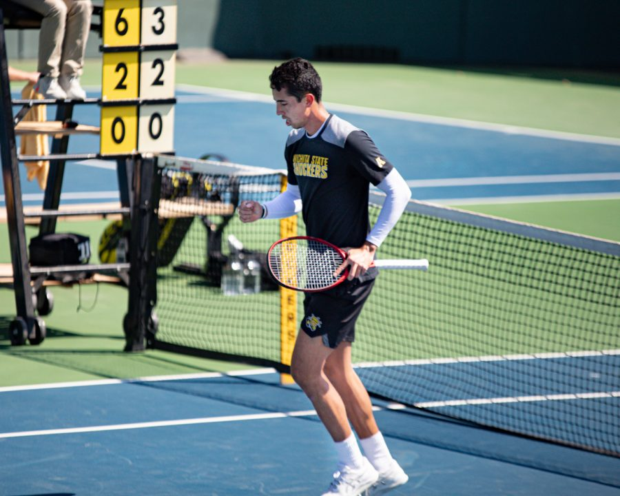 Wichita State Redshirt Senior Murkel Dellien celebrates during the game against the SMU Mustangs at the Coleman Tennis Complex on April 2, 2021.