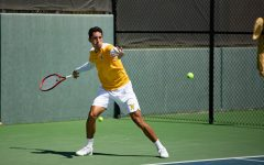 Wichita State Redshirt Senior Murkel Dellien returns the ball  during the game against Pepperdine at the Coleman Tennis Complex on April 4, 2021.