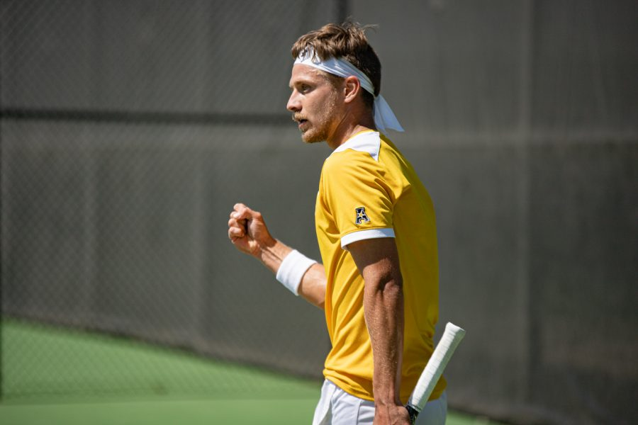 Wichita State Redshirt Sophomore Orel Ovil celebrates during the game against Pepperdine at the Coleman Tennis Complex on April 4, 2021.