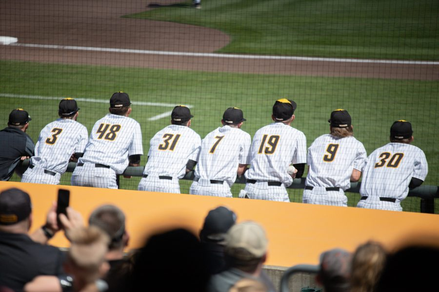 Wichita State bench watches the first inning during the game against Houston on April 10.