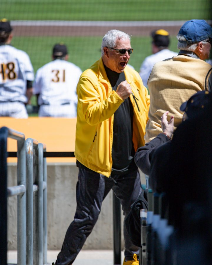 A Wichita State fan celebrates during the game agaisnt Houston at Riverfront Stadium on April 10.