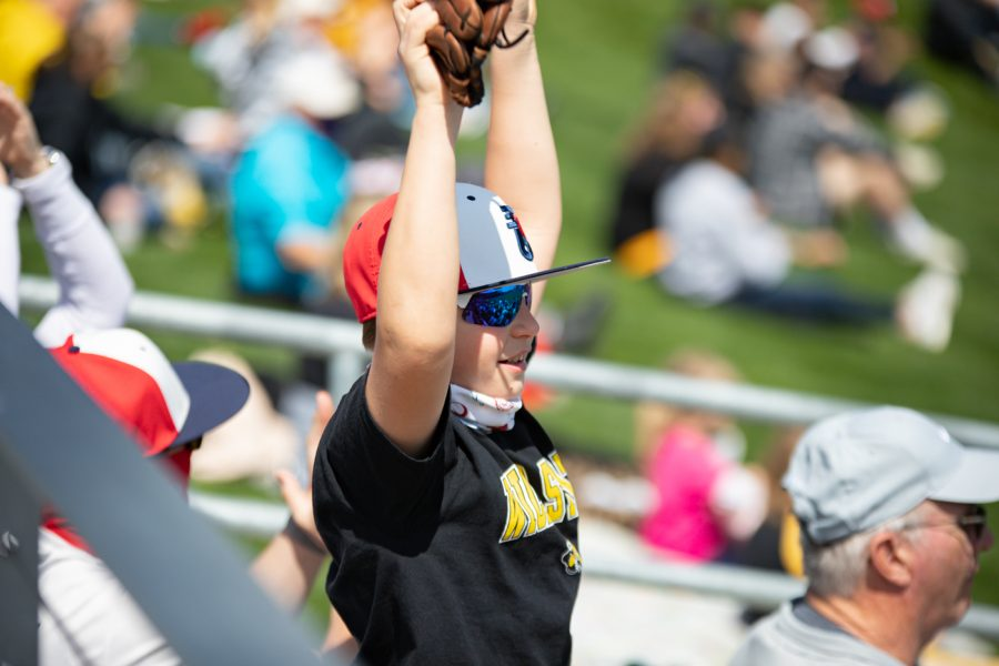 A Wichita State fan celebrates Riverfront Stadium's first home-run on April 10.