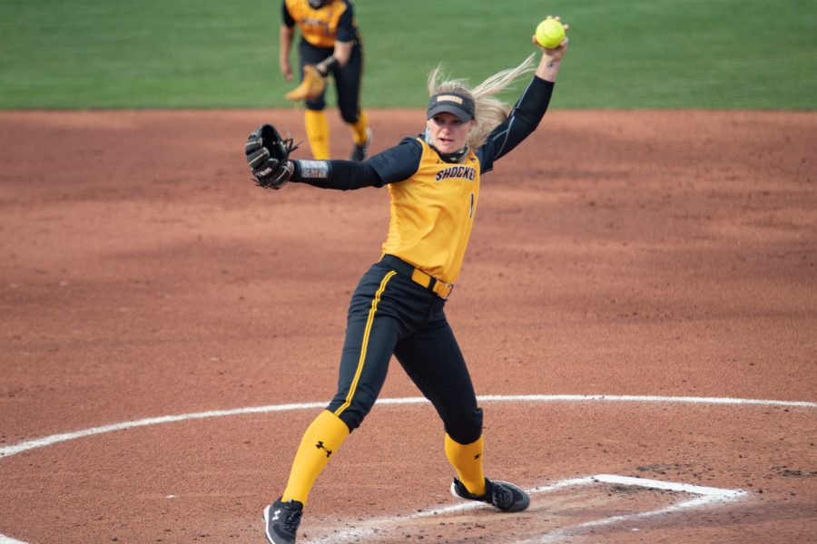 Wichita State senior Bailey Lange pitches during the game against Houston at Wilkins Stadium on April 9, 2021.