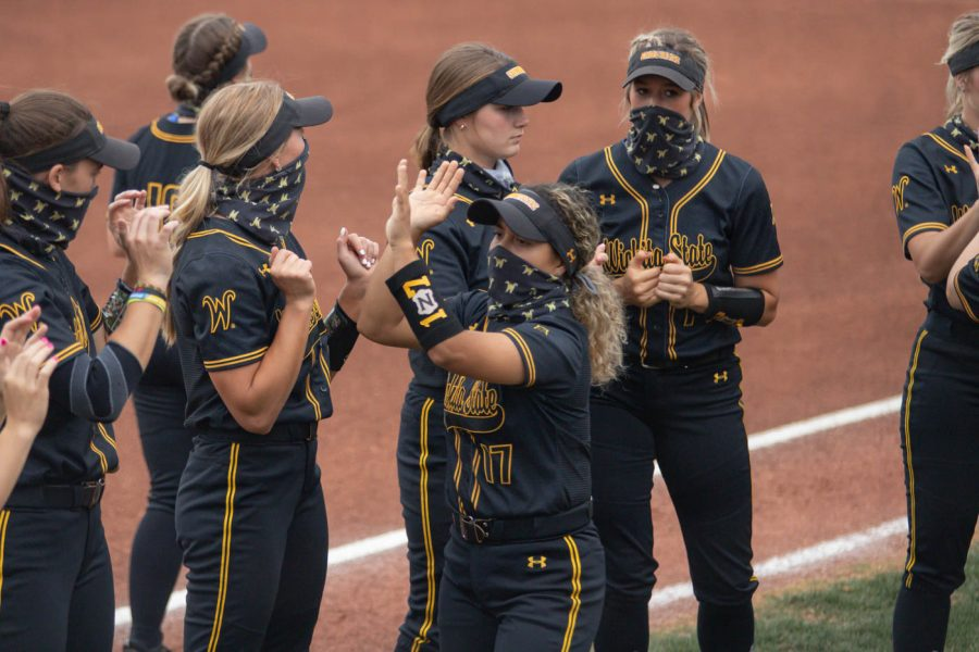 Wichita State freshman Madyson Espinosa is introduced during the game against Oklahoma State at Wilkins Stadium on April 27, 2021.