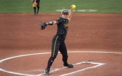 Wichita State senior Bailey Lange pitches during the game against Oklahoma State at Wilkins Stadium on April 27, 2021.