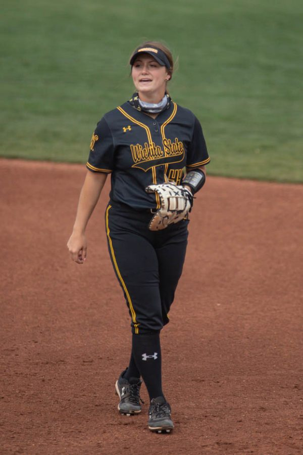 Wichita State freshman Camryn Compton stands at first base during the game against Oklahoma State at Wilkins Stadium on April 27, 2021.