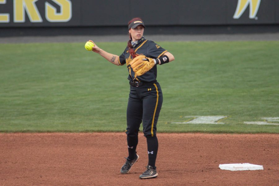 Wichita+State+sophomore+Sydney+McKinney+throws+the+ball+during+the+game+against+Oklahoma+State+at+Wilkins+Stadium+on+April+27%2C+2021.