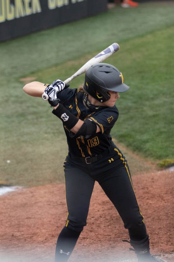 Wichita State junior Bailee Nickerson batters up during the game against Oklahoma State at Wilkins Stadium on April 27, 2021.