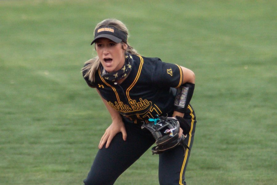 Wichita State redshirt senior Kaylee Huecker stands at third base during the game against Oklahoma State at Wilkins Stadium on April 27, 2021.