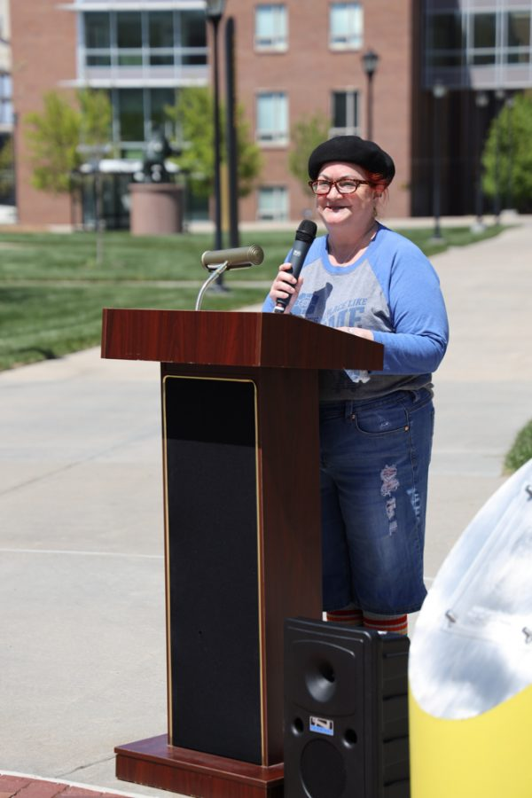 A speaker at the launch of Belonging Plaza on April 24, 2021 east of Wiedemann Hall.