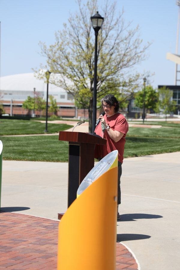 Sharon Reed speaking at the launch of Belonging Plaza on April 24, 2021 east of Wiedemann Hall honoring Kristi Lynn Parker.