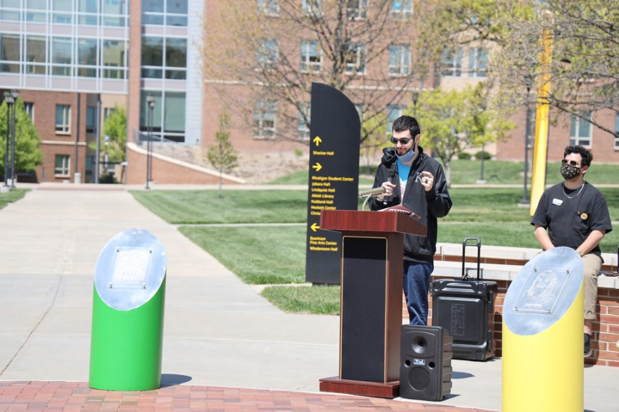 Jack Parker the son of Kristi Lynn Parker speaking at the launch of Belonging Plaza on April 24, 2021 east of Wiedemann Hall honoring Kristi Lynn Parker.