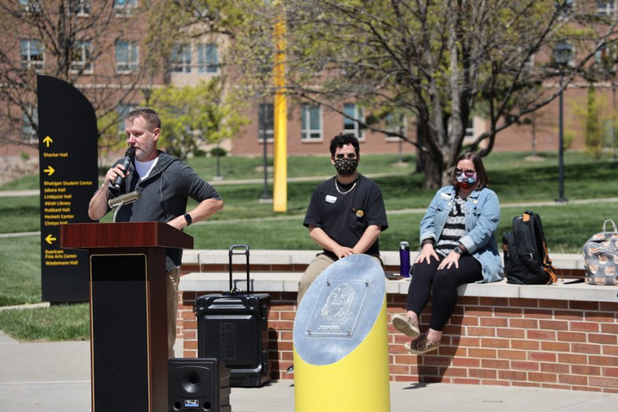 Mark Anderson cousin of Kristi Lynn Parker speaking at the launch of Belonging Plaza on April 24, 2021 east of Wiedemann Hall honoring Kristi Lynn Parker.