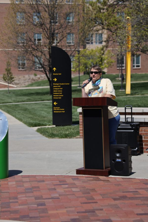 Diane Helt speaking at the launch of Belonging Plaza on April 24, 2021 east of Wiedemann Hall honoring Kristi Lynn Parker.