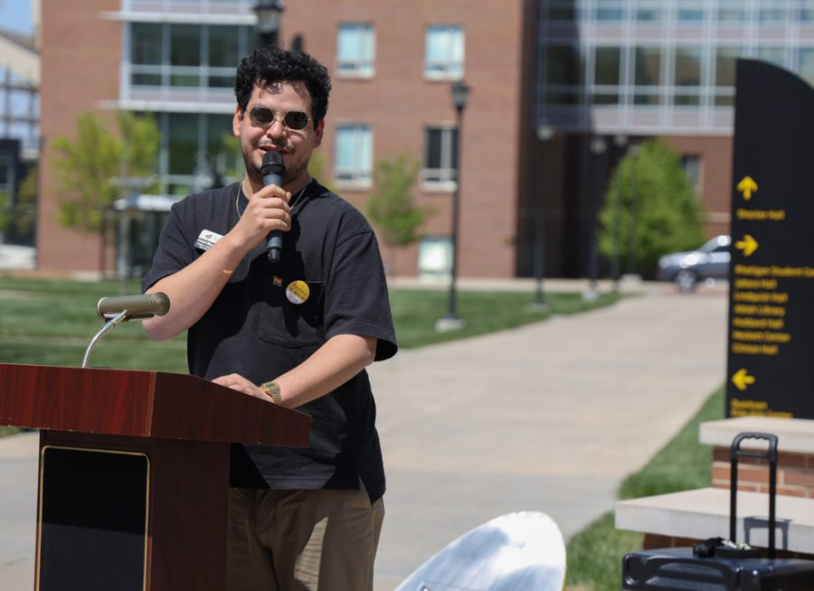 Armando Minjares Coordinator of Student Diversity Program at Wichita State is speaking at the launch of Belonging Plaza on April 24, 2021 east of Wiedemann Hall.