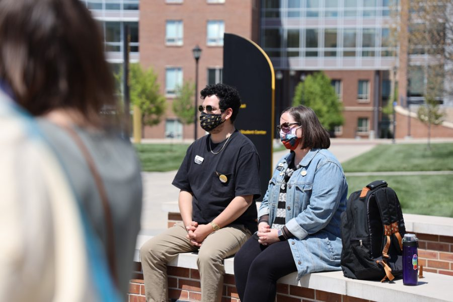 Armando Minjares Coordinator of Student Diversity Program and Kristin Beal Gallery Manager at ShiftSpace are at the launch of Belonging Plaza on April 24, 2021 east of Wiedemann Hall.