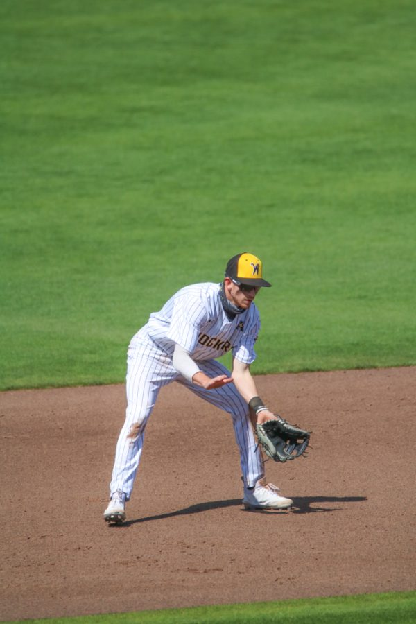 Wichita State sophomore, Andrew Stewart prepares to catch the ball during a game against Houston at Riverfront Stadium on April 10.