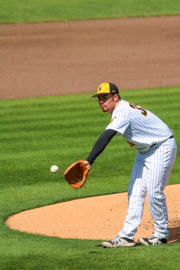 Wichita State freshman, Jace Kaminska catches the ball during a game against Houston at Riverfront Stadium on April 10.