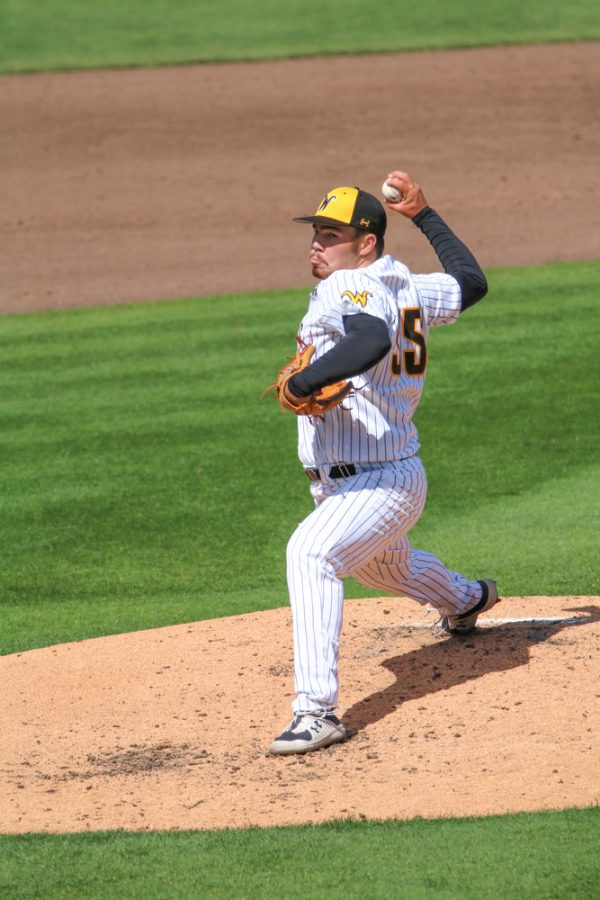 Wichita State freshman, Jace Kaminska pitches  the ball during a game against Houston at Riverfront Stadium on April 10.