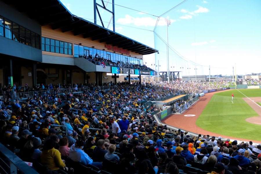 Shocker baseball fans gather around for a game against Houston at Riverfront Stadium on April 10.