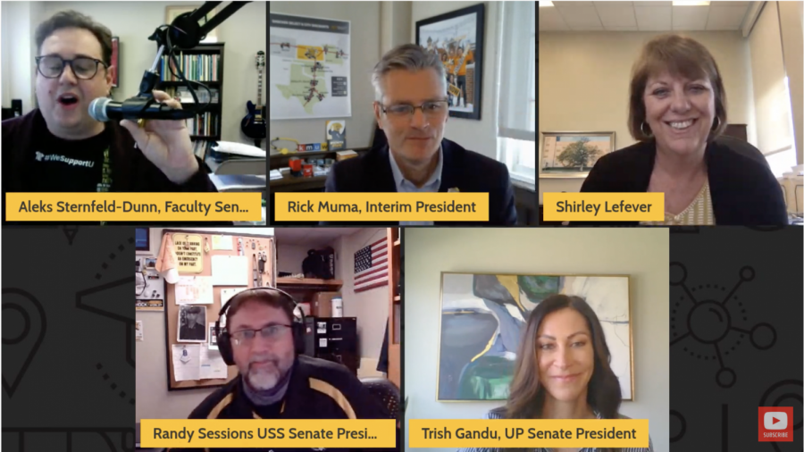 Interim President Rick Muma and Interim Provost Shirley Lefever spoke at a virtual faculty and staff town hall on April 2.