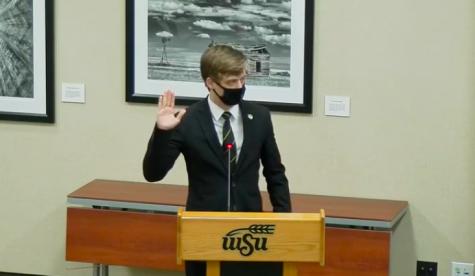 Senator Jacob Tubach is sworn in as speaker of the senate Wednesday.