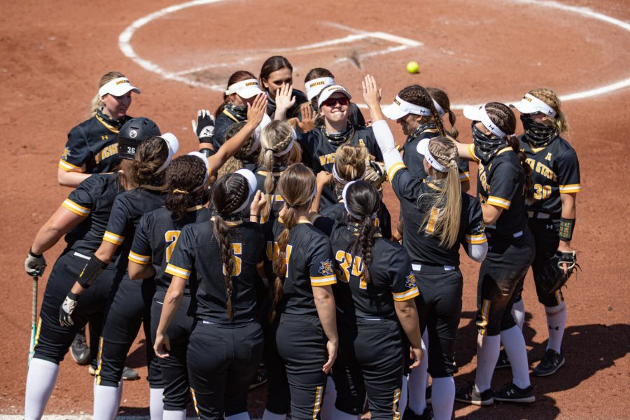 Wichita State freshman Bailey Urban celebrates with her teammates after hitting a homerun during the game against South Florida at Wilkins Stadium on April 24.