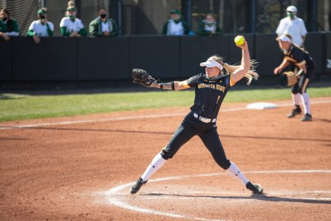 Wichita State senior Bailey Lange pitches during the game against South Florida at Wilkins Stadium on April 24, 2021.