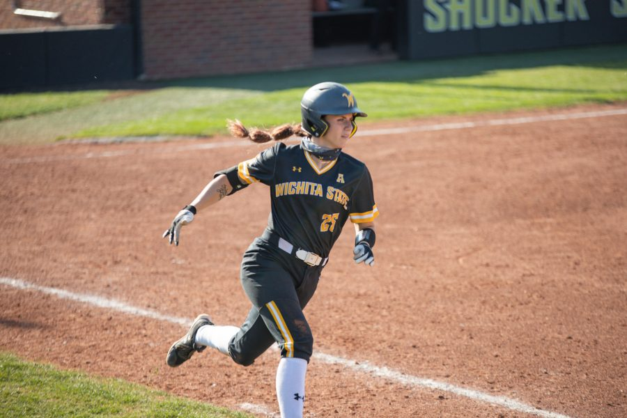 Wichita State sophomore Sydney McKinney runs to first base during the game against South Florida at Wilkins Stadium on April 24, 2021.