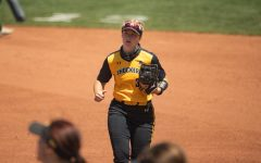 Wichita State freshman Addison Barnard jogs to the dugout during the game against South Florida at Wilkins Stadium on April 25.