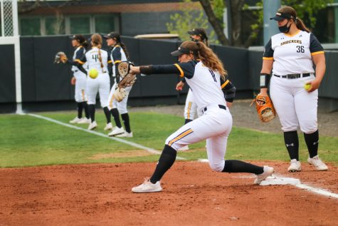 Wichita State junior, Neleigh Herring catches the ball while in a warmup during a game against USF at Wilkins Stadium on April 23.