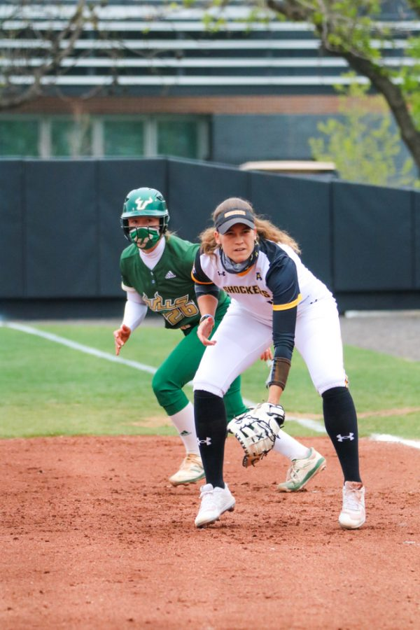 Wichita State junior, Neleigh Herring anticipating the pitch during a game against USF at Wilkins Stadium on April 23.