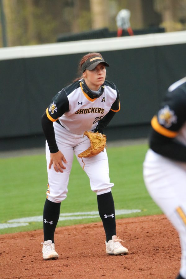 Wichita State sophomore, Sydney Mckinney intensely watches the ball during a game against USF at Wilkins Stadium on April 23.