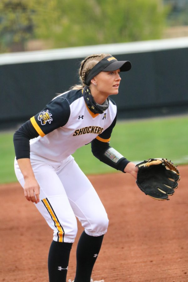 Wichita State senior, Ryleigh Buck anticipates the ball during a game against USF at Wilkins Stadium on April 23.
