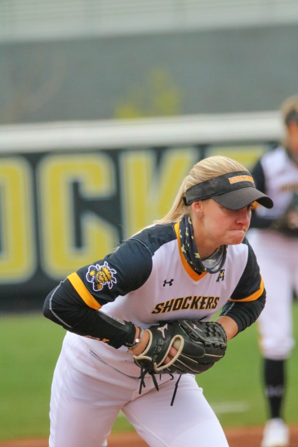 Wichita State senior, Bailey Lange gets ready to pitch the ball during a game against USF at Wilkins Stadium on April 23.