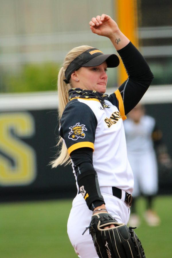 Wichita State senior, Bailey Lange pitches the ball during a game against USF at Wilkins Stadium on April 23.