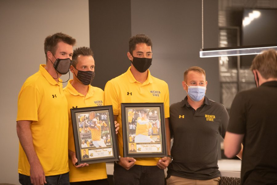 Head coach Danny Bryan, Wichita State redshirt senior Marius Frosa, Wichita State redshirt senior Murkel Dellien and Assistant Coach Justin Desanto after the Division I Mens Tennis Championship selection  announcements on May 3, 2021.