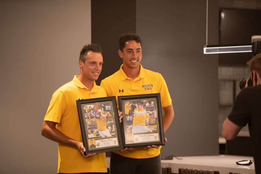Wichita State redshirt senior Marius Frosa and Wichita State redshirt senior Murkel Dellien  after the Division I Men's Tennis Championship selection  announcements on May 3, 2021.