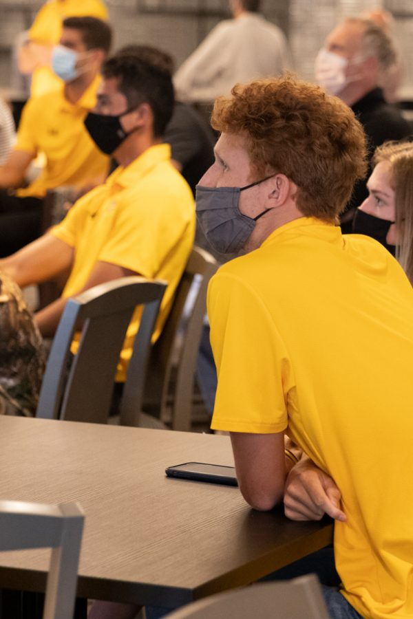 Wichita State redshirt freshman Zach Grueber watching the 2021 NCAA Division I Men's Tennis Championship selection  announcements on May 3, 2021.