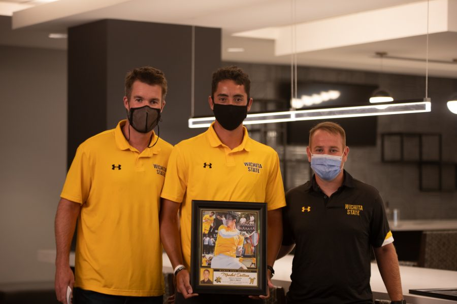 Head coach Danny Bryan, Wichita State redshirt senior Murkel Dellien and Assistant Coach Justin Desanto after the Division I Men's Tennis Championship selection  announcements on May 3, 2021.