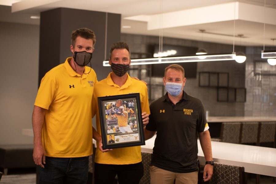 Head coach Danny Bryan, Wichita State redshirt senior Marius Frosa and Assistant Coach Justin Desanto after the Division I Mens Tennis Championship selection  announcements on May 3, 2021.