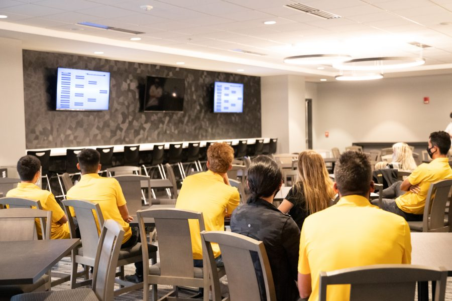 Wichita State men's tennis team watching the 2021 NCAA Division I Men's Tennis Championship selection announcements on May 3, 2021.