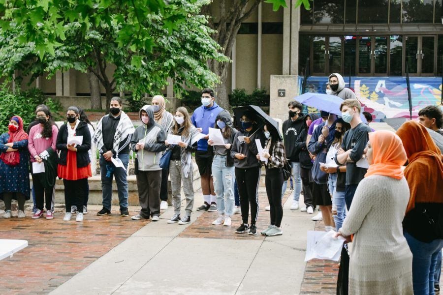 Students gather during the vigil honoring Palestinians on May 30.