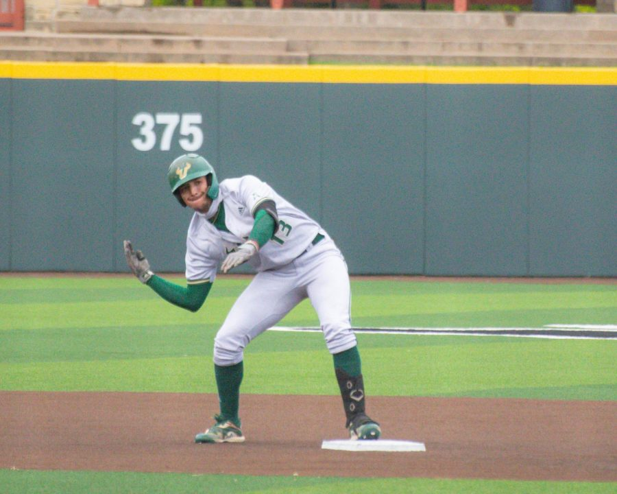 South Florida's Roberto Pena celebrates after hitting a double in their game against Wichita State on Friday, May 15 inside Eck Stadium.