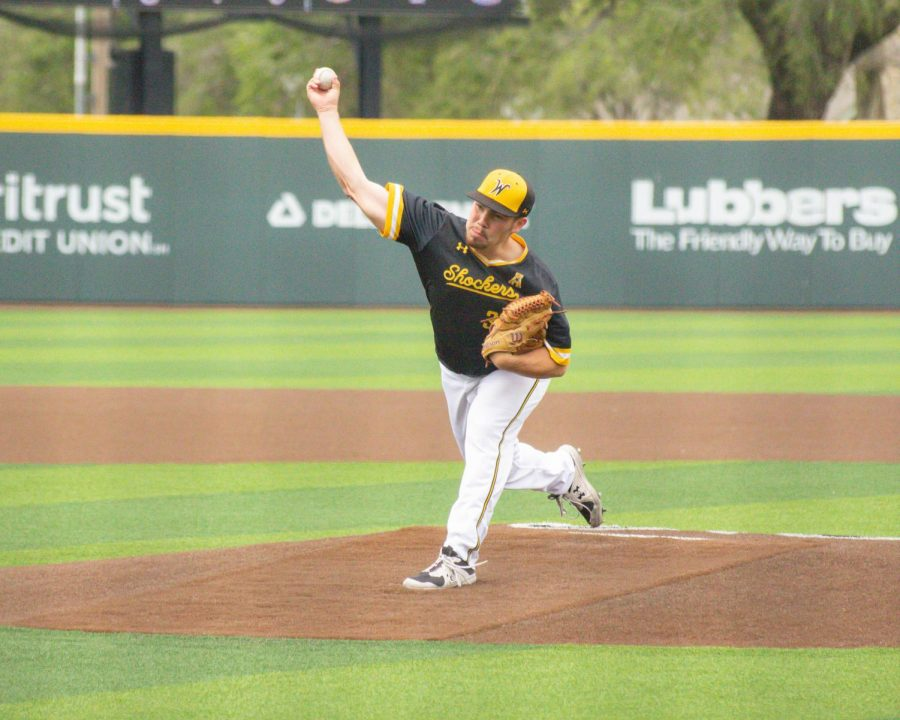 Freshman Jace Kaminska throws a pitch during Wichita State's game against South Florida on May 14 inside Eck Stadium.
